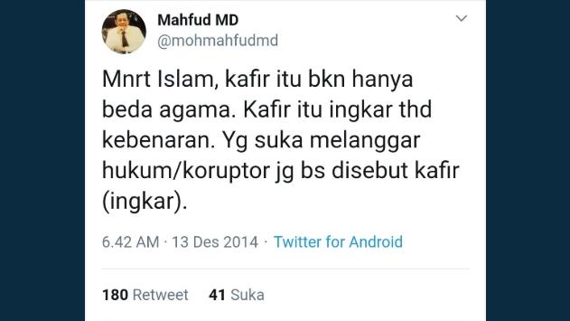 Mahfud MD Larang 'Mengkafirkan' di Dalam Masjid, Warganet Unggah Jejak Digital