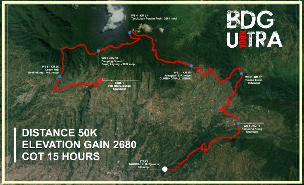 50K Bandung Ultra 100 Route 2018