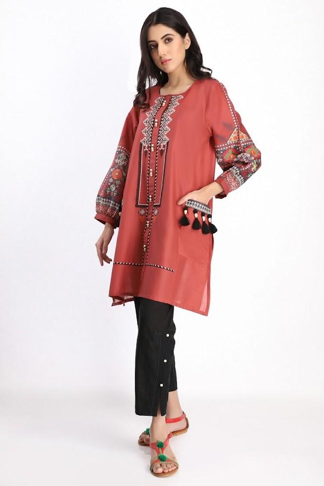 Khaadi cambric kurta orange color