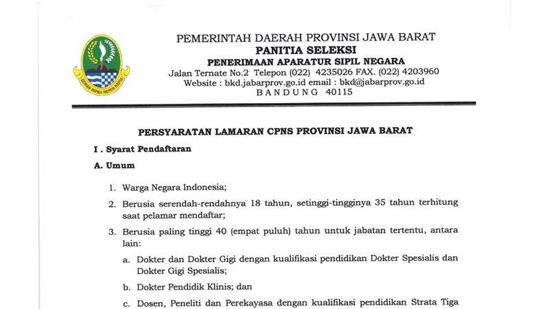 Penerimaan CPNS Provinsi Jawa Barat Tahun 2019 (1.934 Formasi)