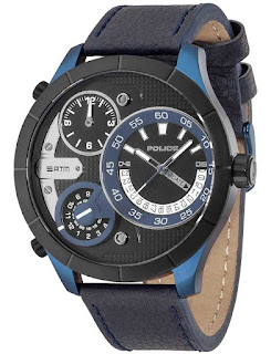 POLICE Bushmaster Multifunction Blue Leather Strap 14638XSBLB/02