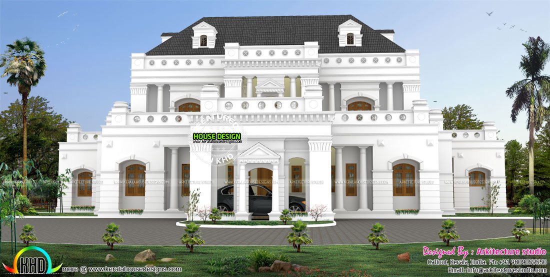 5850 sq ft colonial style luxury home kerala home design for Colonial luxury house plans