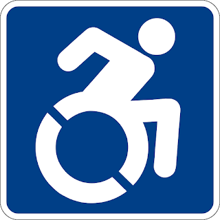new access icon with figure leaning forward, actively engaging life in a wheelchair