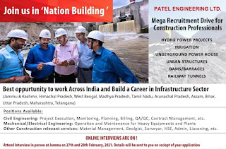 Patel Engineering Ltd Mega Recruitment Drive for Construction Line Best Job Opportunity to Work Across India