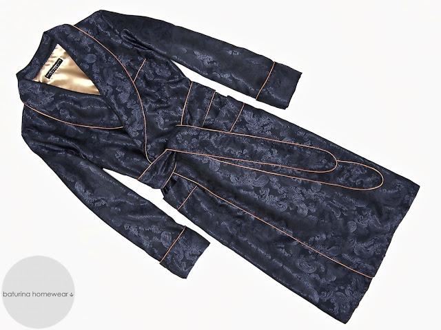 mens dark blue gold paisley silk dressing gown lightweight robe smoking jacket