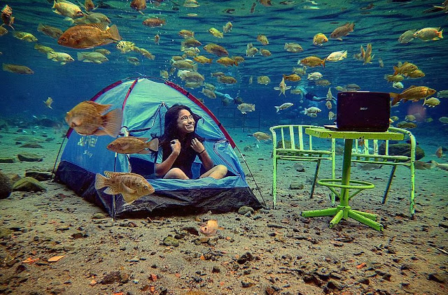 Berkemah di dasar kolam Umbul Ponggok Klaten