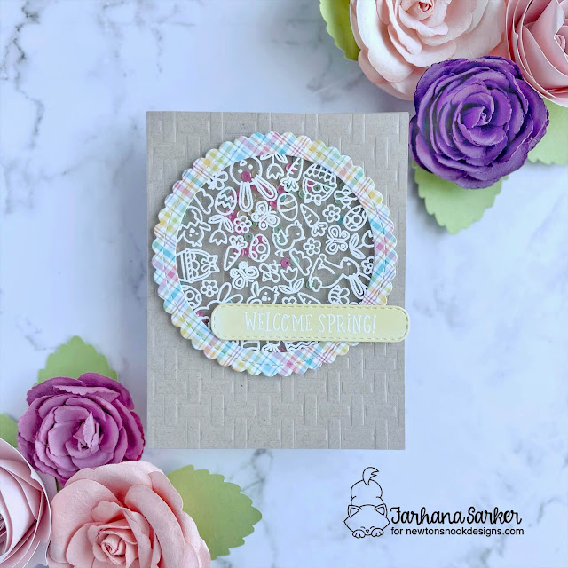 Welcome Spring card by Farhana Sarker | Spring Roundabout Stamp Set, Circle Frames Die Set, Banner Trio Die Set and Basketweave Stencil by Newton's Nook Designs #newtonsnook #handmade