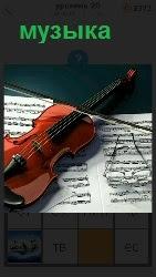 лежат ноты и сверху скрипка с очками для игры