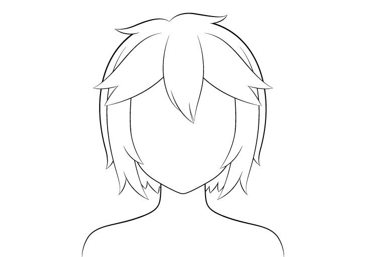 Anime gambar garis rambut pendek berantakan