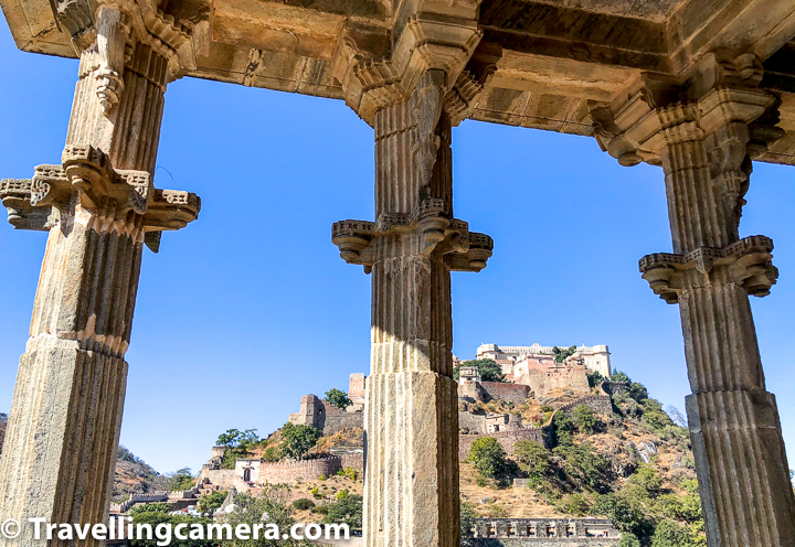 Above photograph shows top of the Kumbalgarh Fort through pillars of Neelkanth Mahadev Temple. On top part of the fort you can see Badal Mahal, various important chambers of Rana Kumbha.   Legends say that King Rana Kumbha used to worship this deity. King was also beheaded by his own son when he was offering prayers at the shrine.  It is said that Rana Kumbha was so tall that when he sat for the offerings of prayer on the floor, his eyes were on the same level of the Shivling. Neelkanth Mahadev temple has entrances from all four directions with beautiful pillars all around.