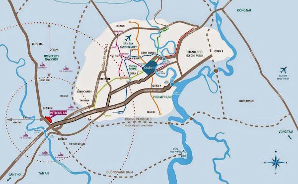 vị trí dự án waterpoint bến lức trên bản đồ