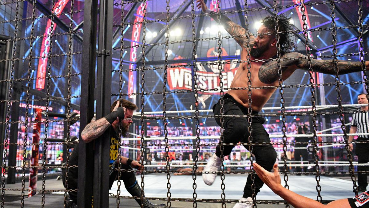 Jey Uso and Kevin Owens in WWE Elimination Chamber 2021