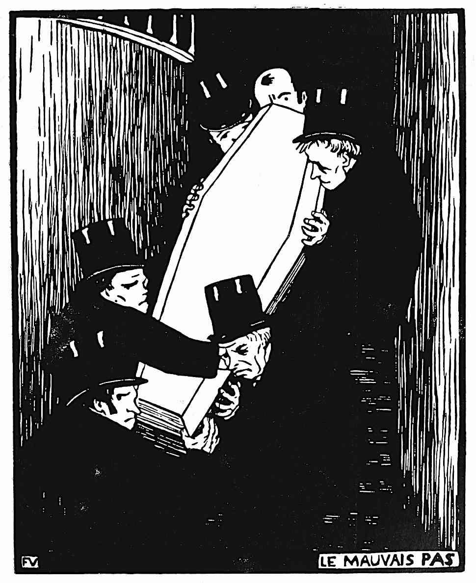 a Felix Vallotton wood cut print of pall bearers struggling with a heavy casket