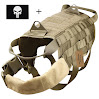 ArcEnCiel Army Tactical Dog Training Molle Vest Harness Military Load Bearing Harness SWAT Dog Jacket with Patch (Coyote Brown L)