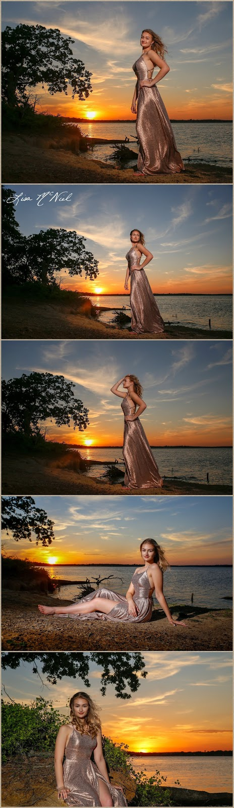 pretty blond girl in prom dress by lake at sunset