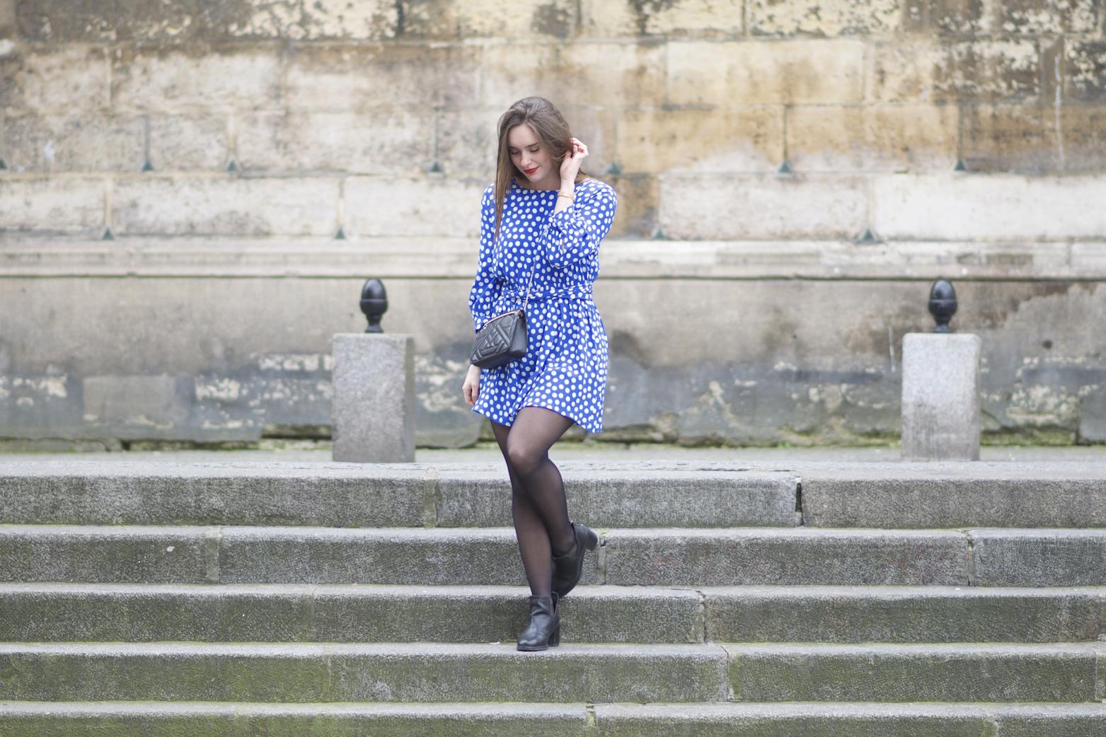 robe bleue à pois Zara