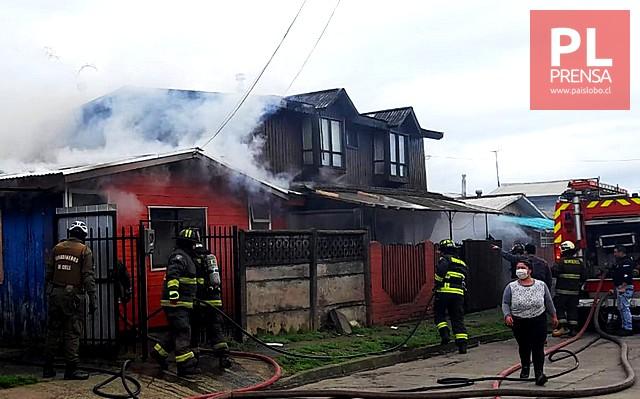 Osorno: incendio afecta dos viviendas en Rahue Alto