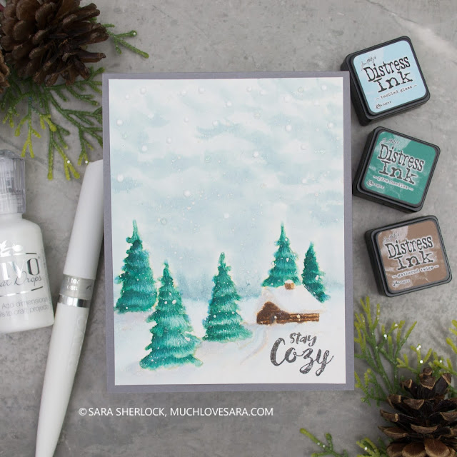 Watercolor card featuring Fun Stampers Journey Stay Cozy Stamp Set, and Distress Ink Watercoloring.