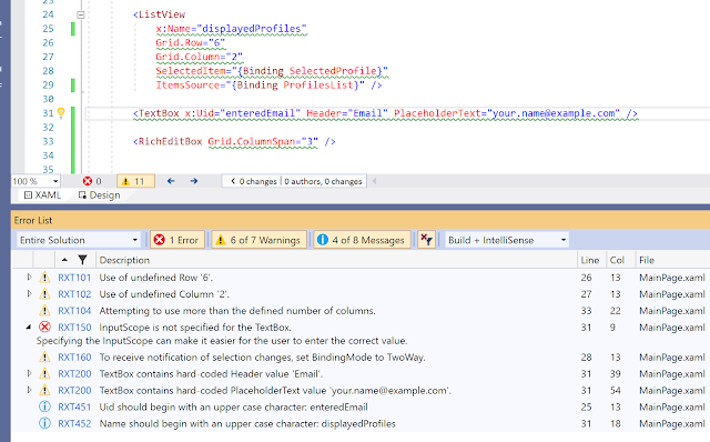 Screenshot showing XAML analysis errors