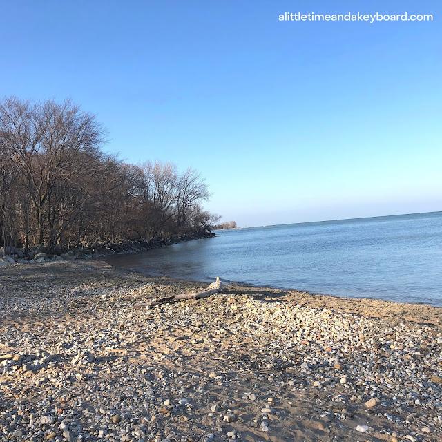 The rocky shore along Lake Michigan treats to interesting views.