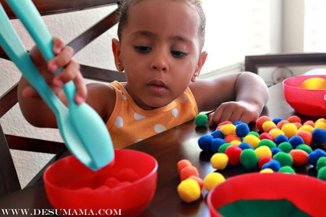 color sorting and fine motor skills school at home de su mama. Black Bedroom Furniture Sets. Home Design Ideas