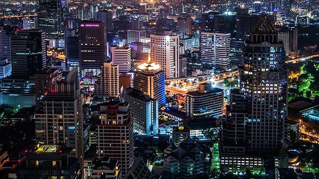 Cahaya lampu kota di malam hari