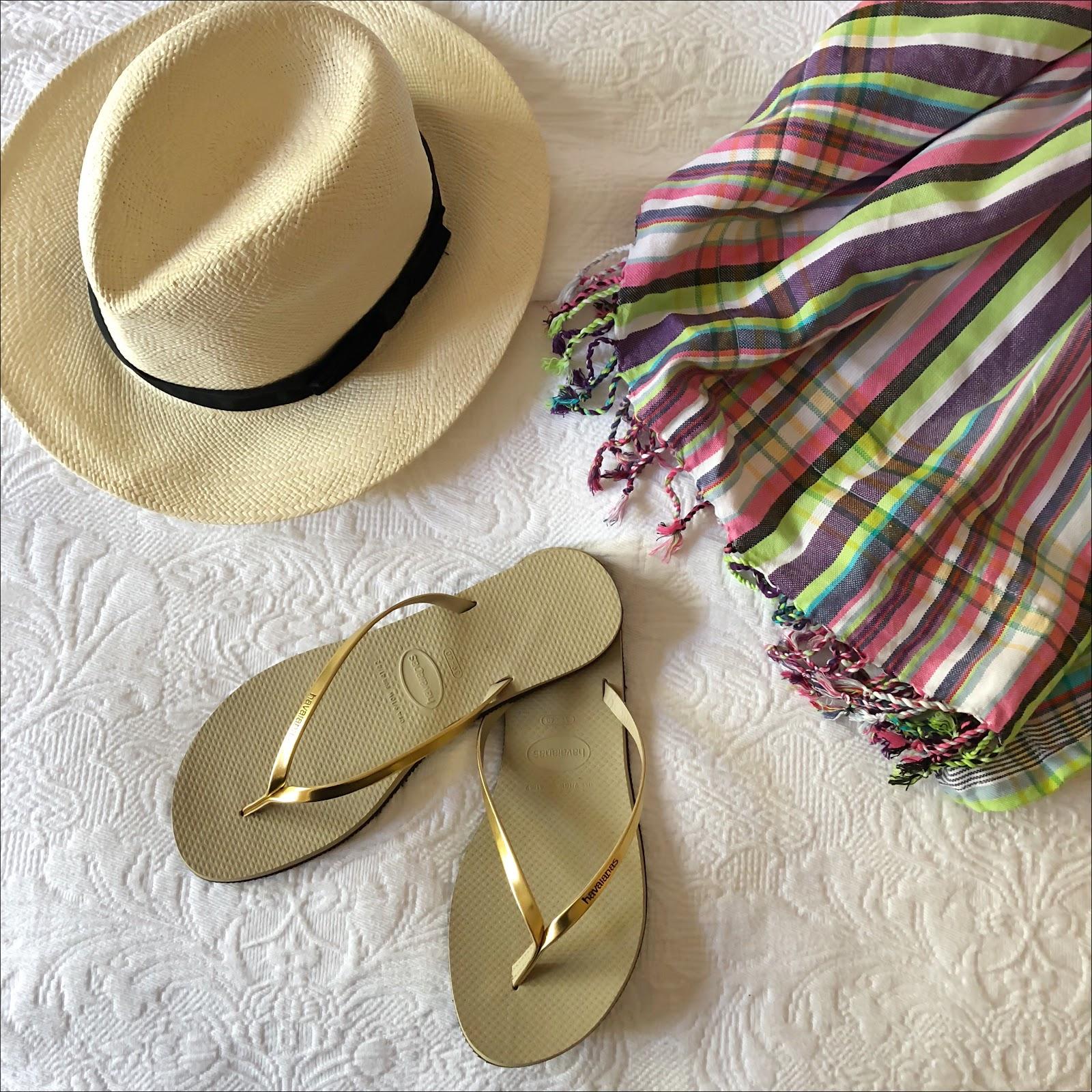 my midlife fashion, marks and spencer handwoven panama hat, kikoy beach towel, havaianas light gold you metallic flip flops