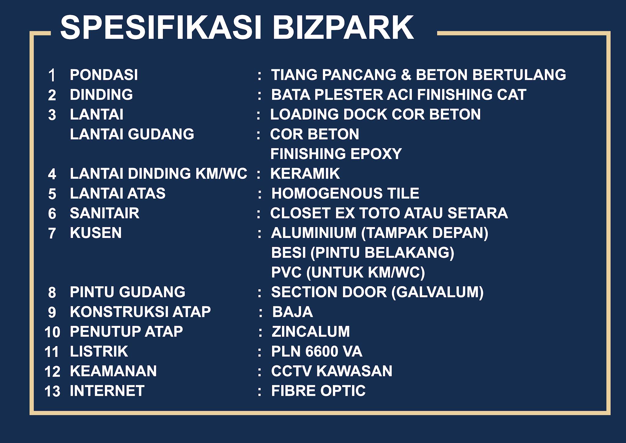 Spesifikasi Bangunan Gudang Bizpark PIK2