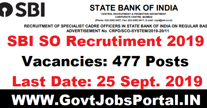 SBI Recruitment 2019 - Bank Jobs for 477 Specialist Cadre