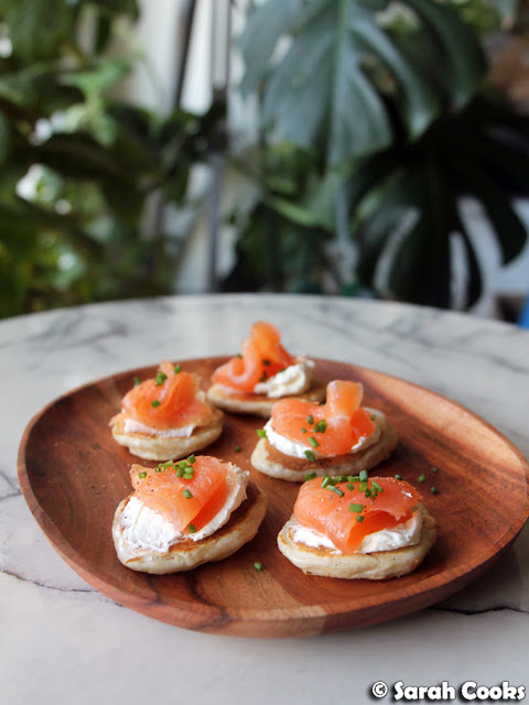 Sourdough blini with smoked salmon and cream cheese