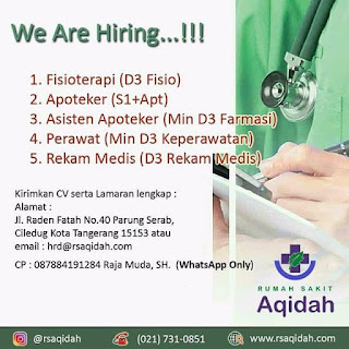 Info Lowongan Kerja Rumah Sakit Aqidah Tangerang