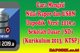 Cara Mengisi Nilai Rapor dan USBN Dapodik 2019.a SD (Kurikulum 2013/ KTSP)