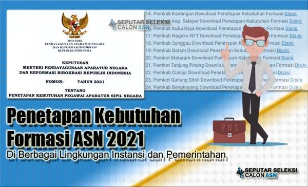 Penetapan Kebutuhan Formasi ASN 2021 Di Berbagai Lingkungan Instansi dan Pemerintahan