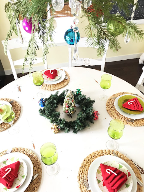 Winter wonderland tablescape, bright colors for Christmas, Lime Green and red for Christmas The style sisters tablescape
