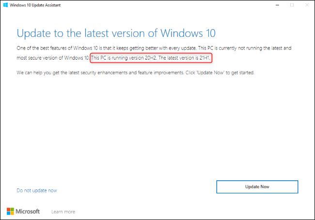 يعرض Windows 10 Update Assistant ترقية إلى 21H1.