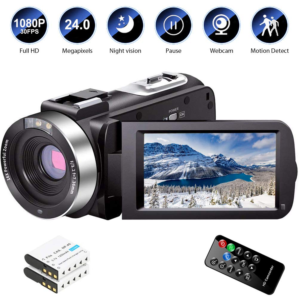 Video Camera Camcorder Night Vision Vlogging Camera, Camcorders YouTube Camera Remote Control with 2 Batteries Review | Update Camera