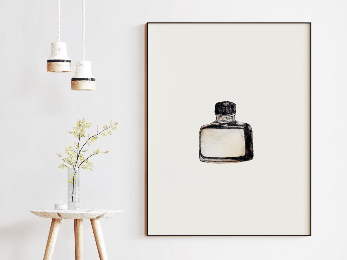 Sketch of vintage ink bottle