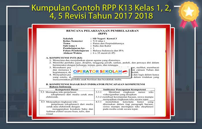 Kumpulan Contoh RPP K13 Kelas 1, 2, 4, 5 Revisi Tahun 2017 2018