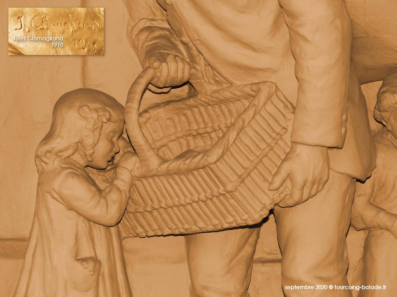 Sculpture Jules Clamagirand, Tourcoing 1910.