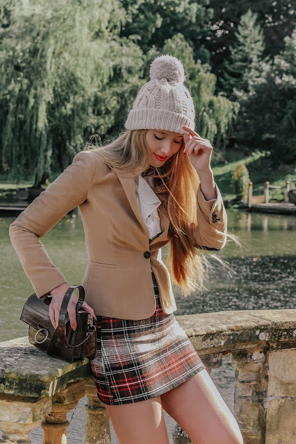 Wool mini plaid skirt