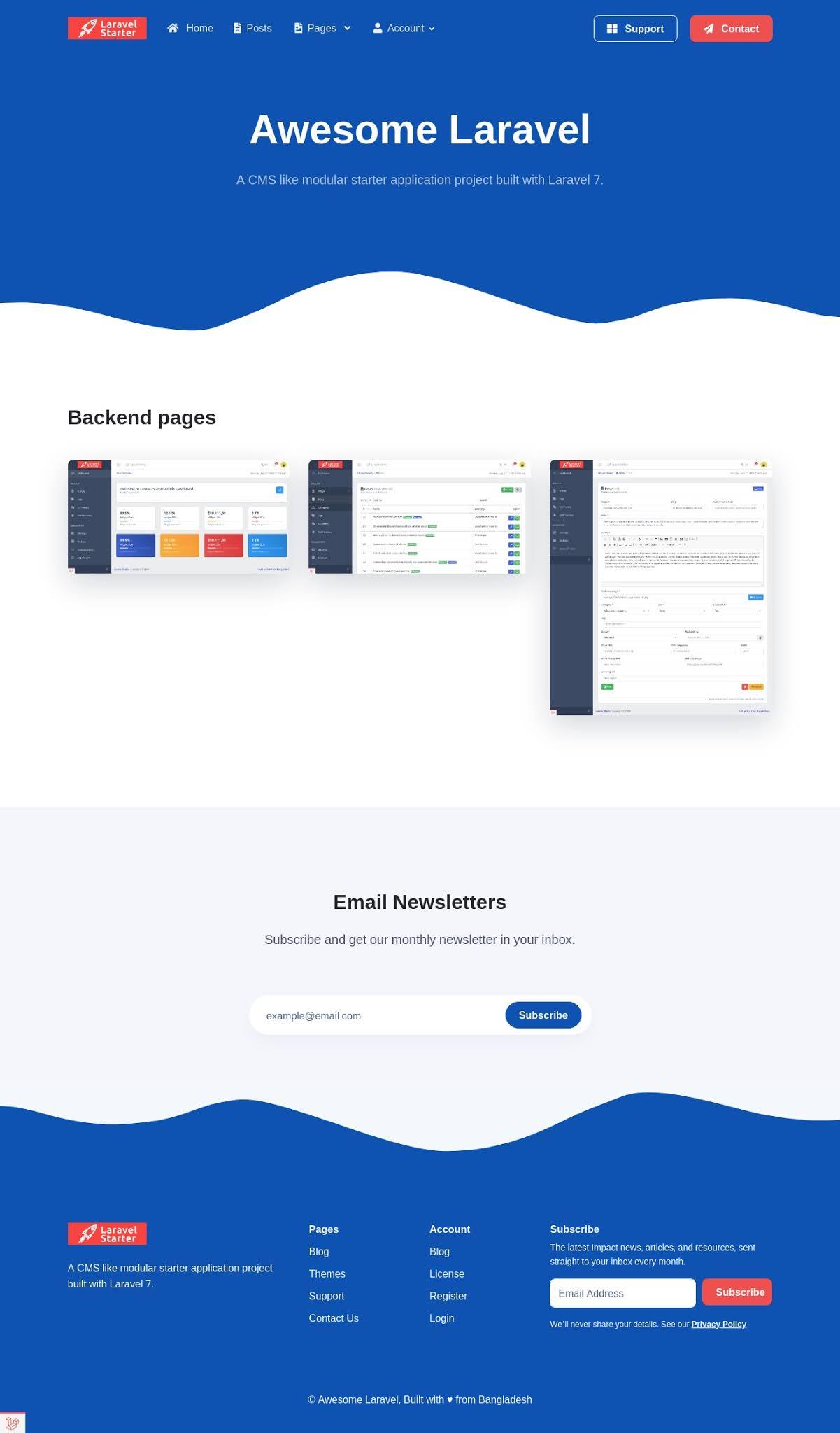 Homepage Laravel Starter