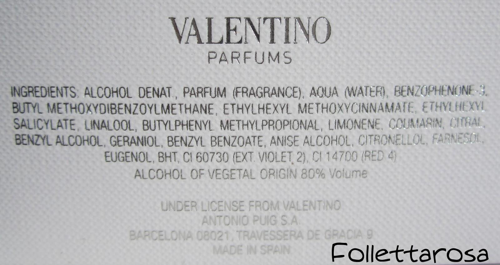 inci valentina profumo