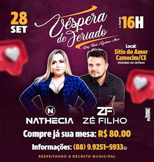 28 de setembro tem Zé Filho e Nathecia no Sitio do Amor