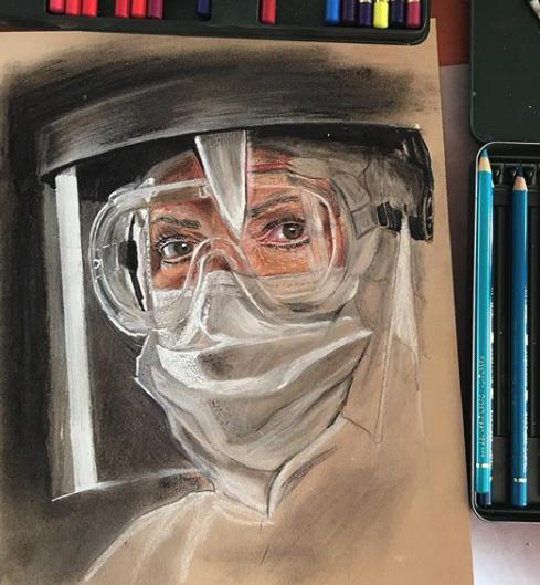 Dibujo de enfermera de Covid-19 (Coronavirus)