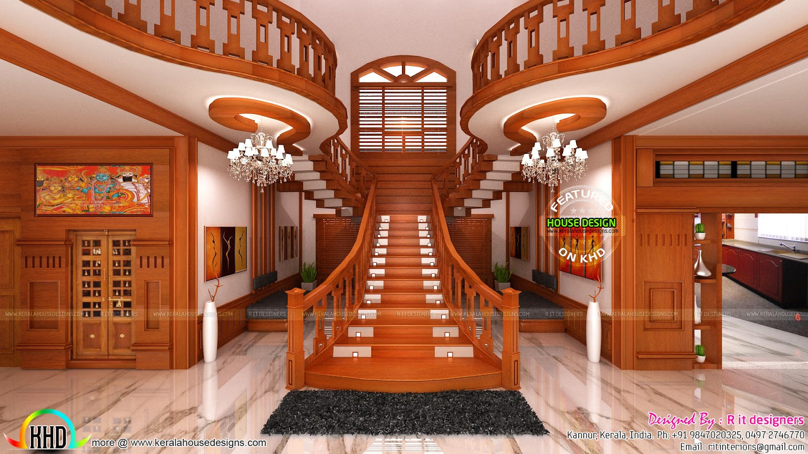 Bifurcated Stair Front Door Living And Bedroom Kerala   Front House Stairs Design