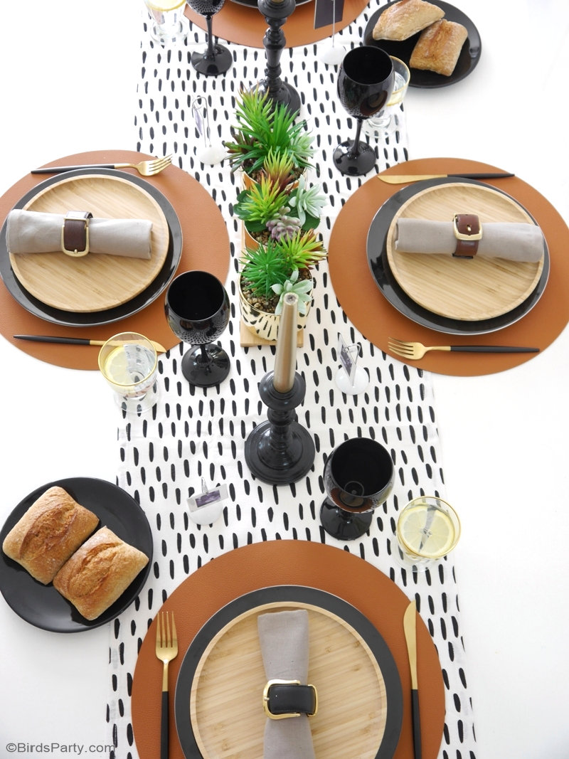 Father's Day Masculine Tablescape Ideas - ideas for a chic, modern but manly table setting in black, white, brown & gold with easy, DIY details! by BirdsParty.com @birdsparty #fathersday #fathersdaytable #fathersdayparty #fathersdaytablescape #tablescape #tablesetting #tabledecor #masculinetable #masculinetablescape #fathersdaypartyideas