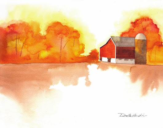 My Latest Watercolor: Autumn Barn II