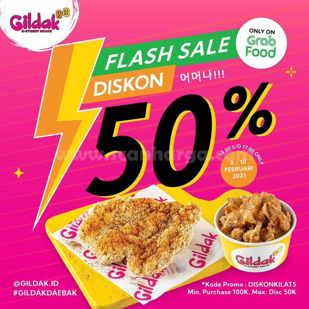 GILDAK Promo Flash Sale Diskon hingga 50% Khusus Pemesanan Via GRABFOOD
