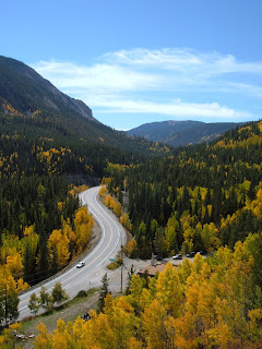 Most beautiful view looking down upon Monarch Pass with the fall colors at its peak.