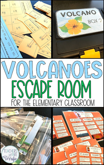 Perfect for Earth Day or any day. This Volcano Escape Room includes using a map grid, completing a math paper, and piecing together a volcano puzzle. Students solve the puzzles and determine the lock code for three locked boxes. The resource includes a detailed and thorough teacher's guide with photos to help you prep the event. A STEM Challenge is also included! #STEM #elementary #escaperoom